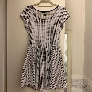 AQUA Navy/White Checkered Mini Dress - M